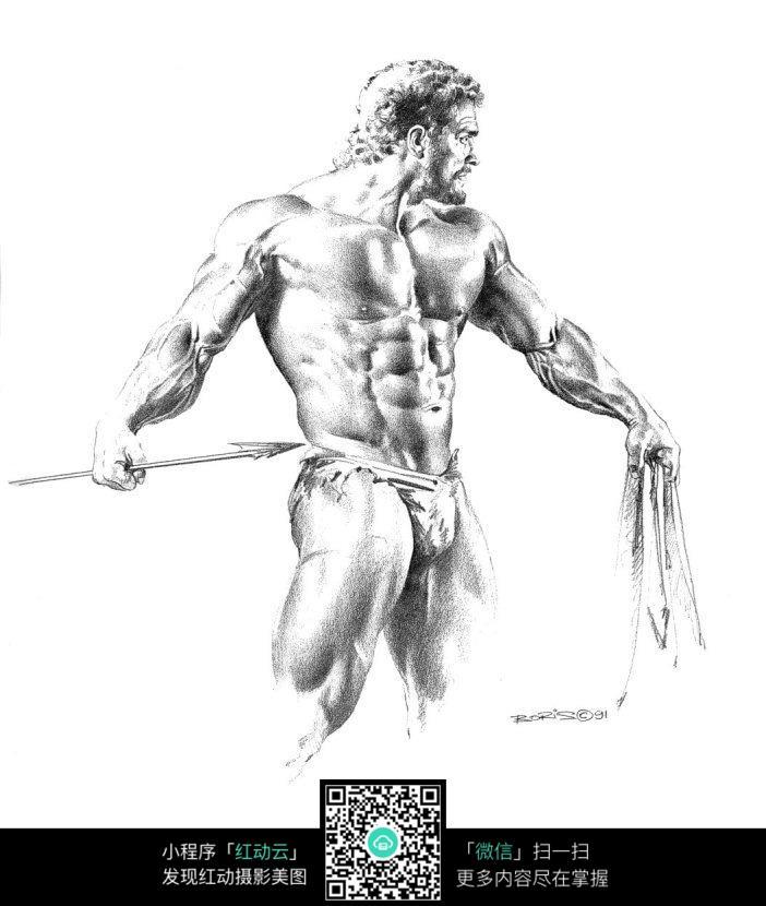 免费素材 图片素材 漫画插画 人物卡通 拿剑的壮男手绘素描画