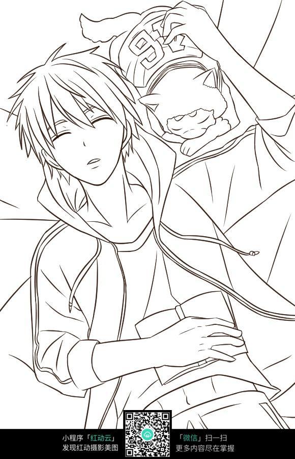 男生和宠物睡觉插画手稿_人物卡通图片
