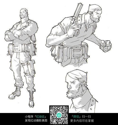 拿枪的军人手绘填色图图片免费下载