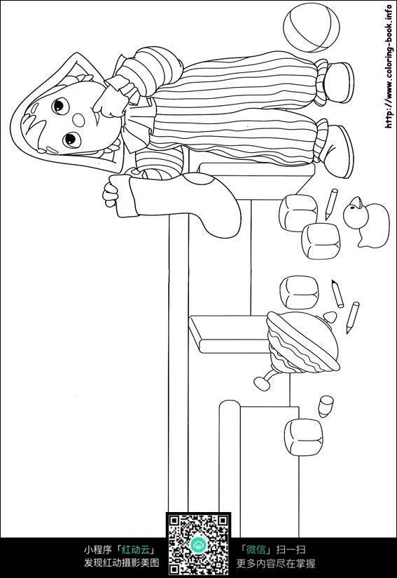 拿袜子吃手的小女孩卡通手绘线稿素材