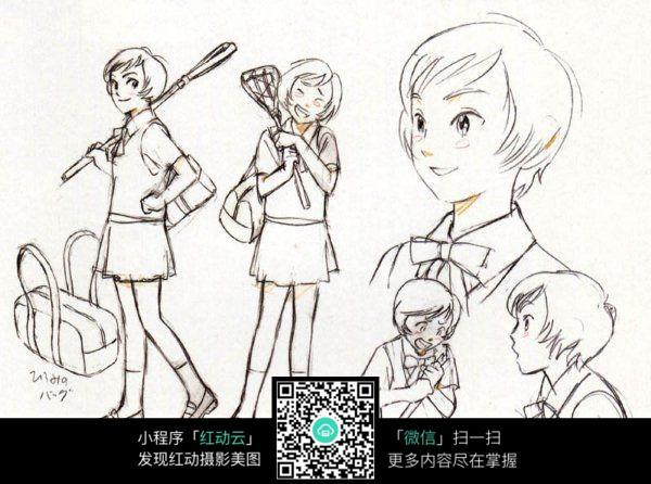 女孩背着运动器材线描_人物卡通图片