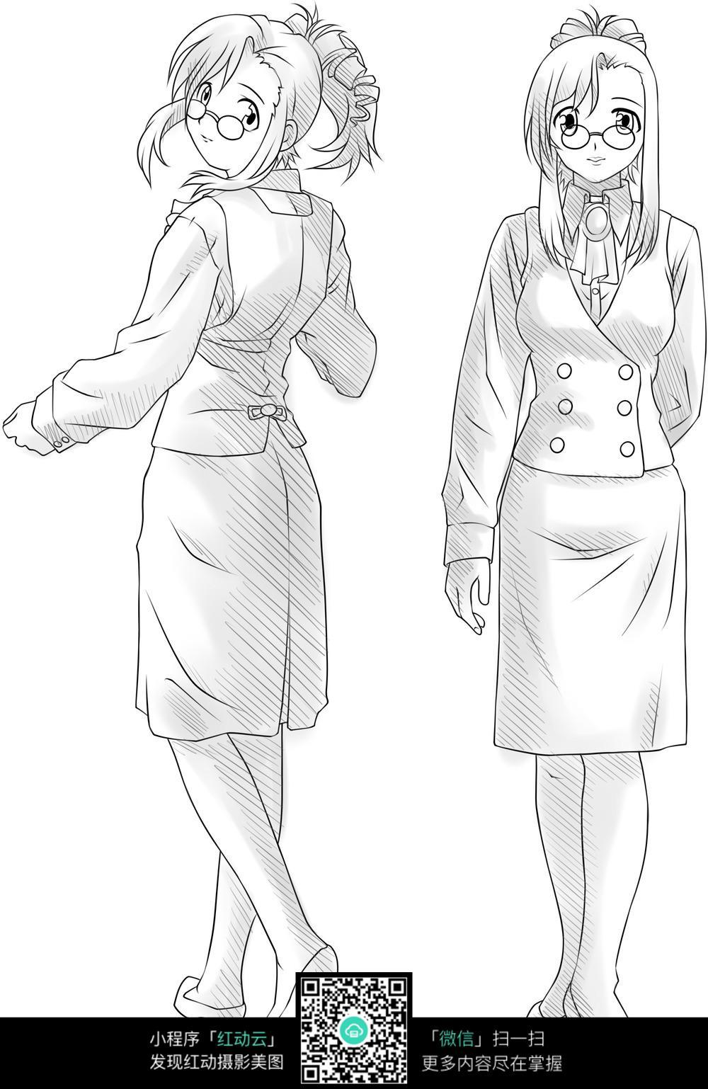 女老师正面侧面线描