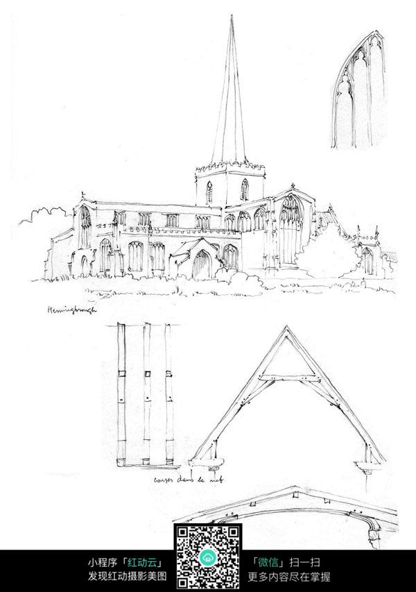 欧式别墅建筑手绘设计图
