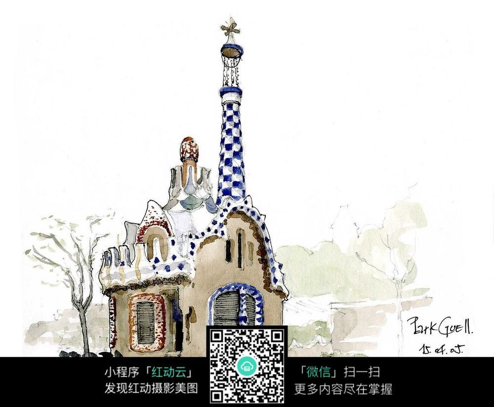 欧式别墅手绘水彩画