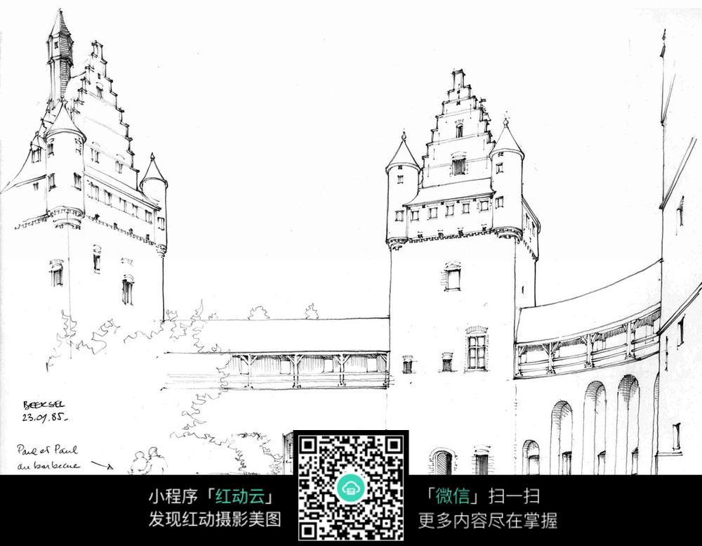 欧式城堡内围手绘图图片