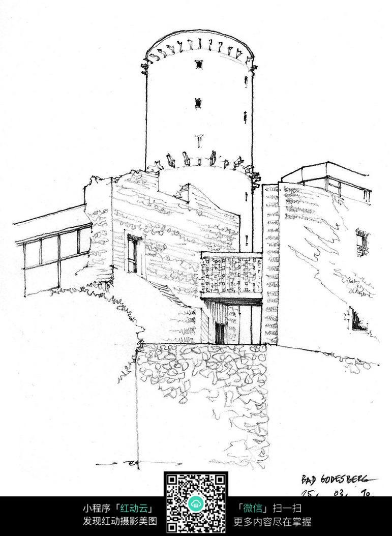 欧式城楼建筑手绘线描稿
