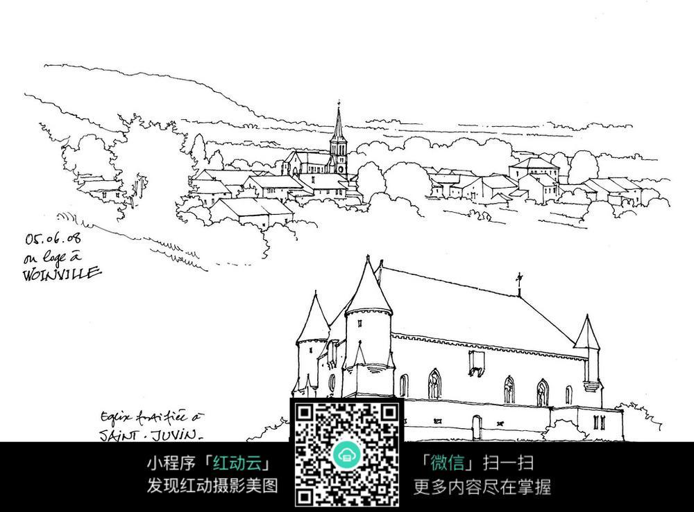 欧式城市建筑手绘线稿图