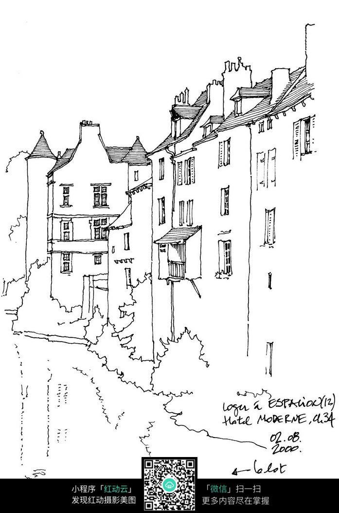 欧式风格建筑景观手绘线描画图片