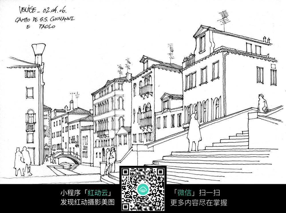 欧式风格建筑楼梯手绘线稿画