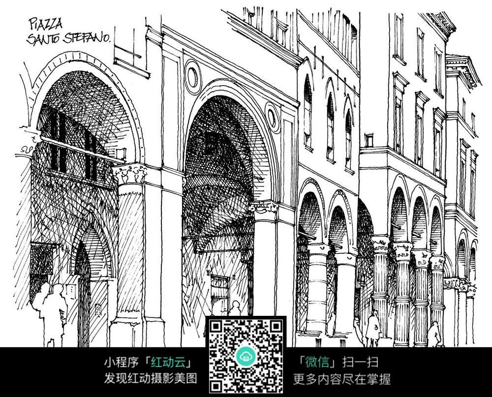 欧式拱门建筑手绘线描稿