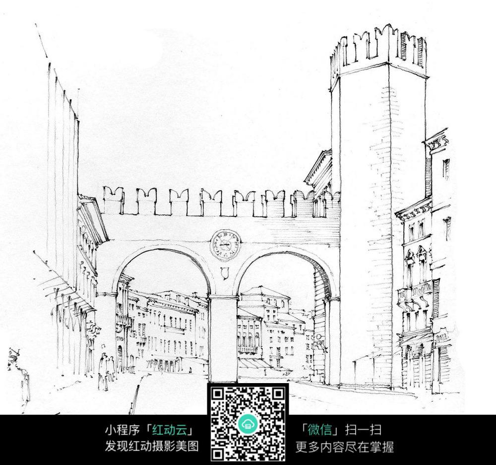欧式拱门通道手绘水彩图