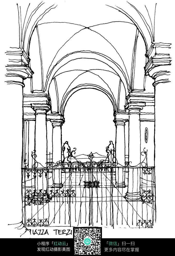 欧式拱形门牌铁门手绘线稿画