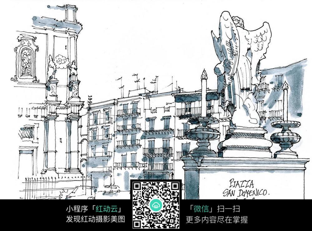 欧式广场雕塑建筑手绘线描画