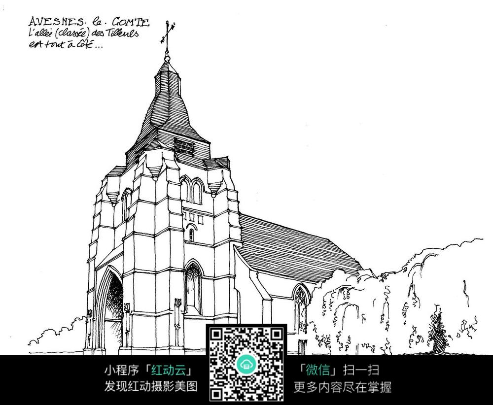 欧式古城堡建筑手绘图图片