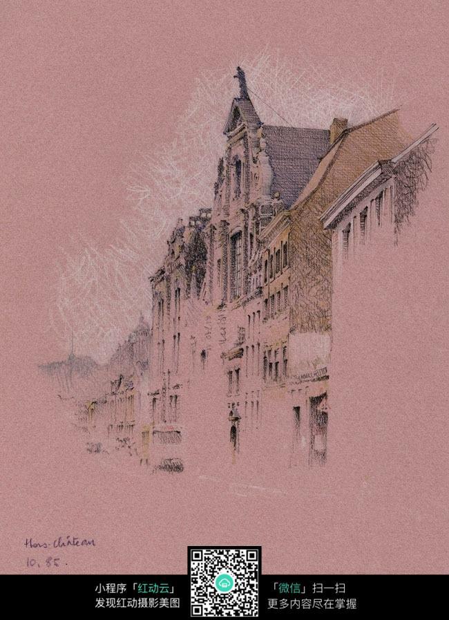 欧式古建筑手绘红底粉笔画
