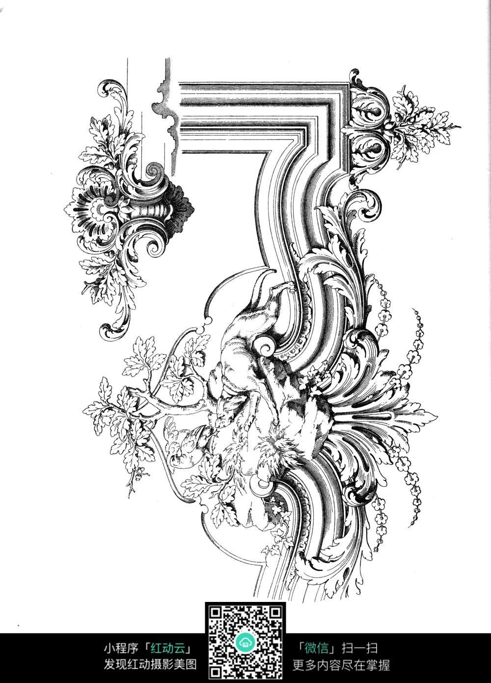 欧式花纹边框装饰图案手绘稿