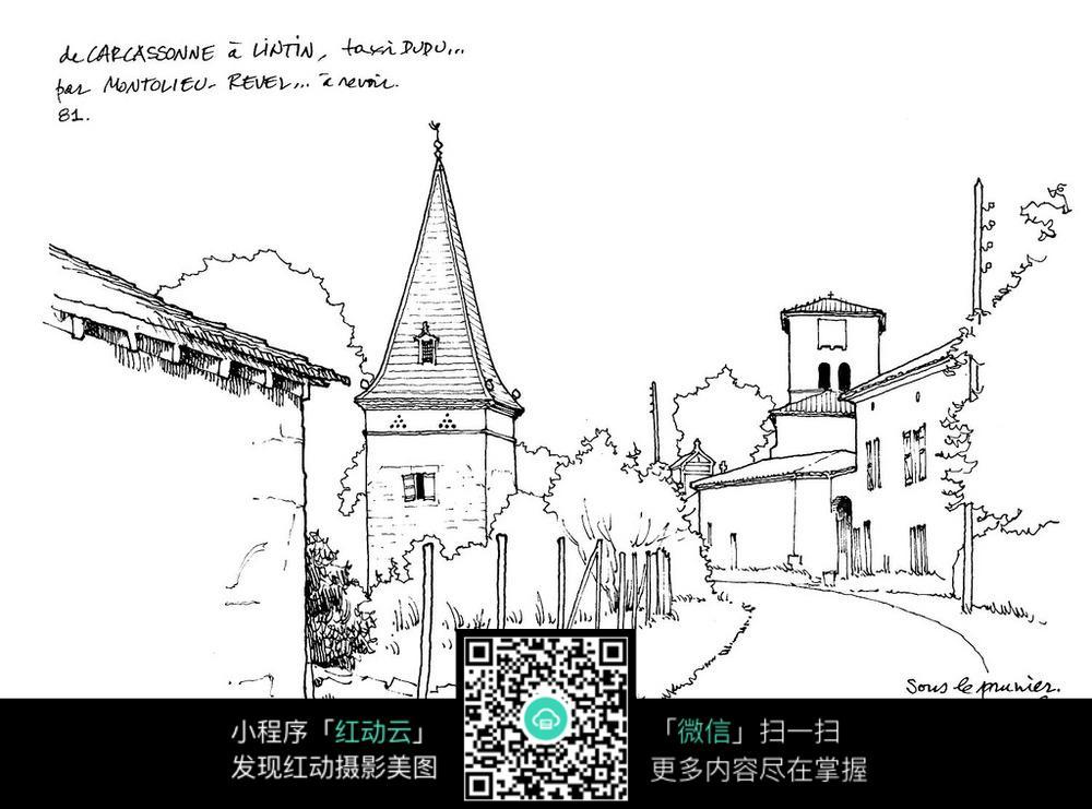 欧式尖顶建筑街道手绘线描画图片