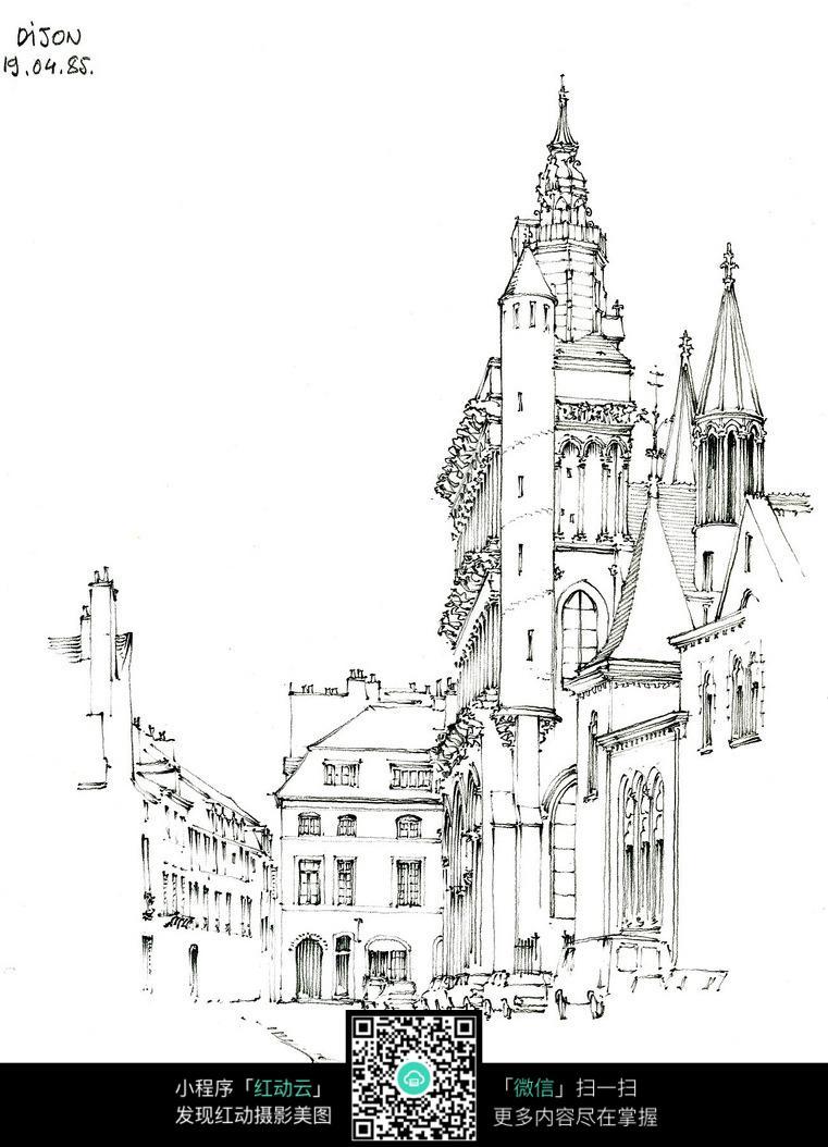 欧式尖顶建筑街景手绘线描画图片免费下载 编号3700806 红动网图片
