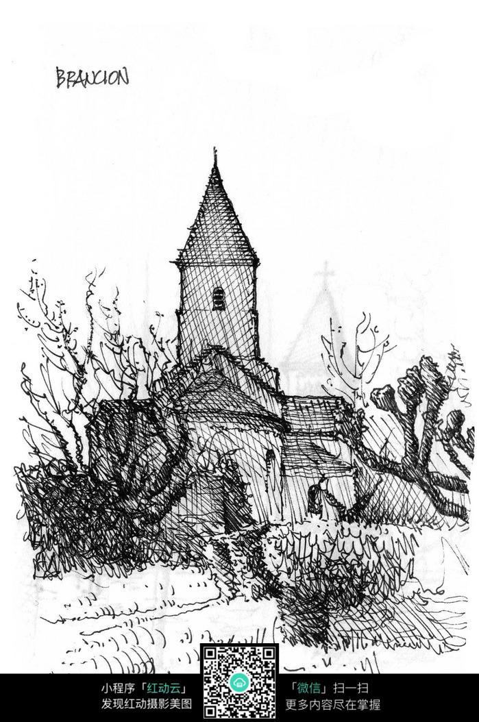 欧式尖顶建筑景观手绘素描画