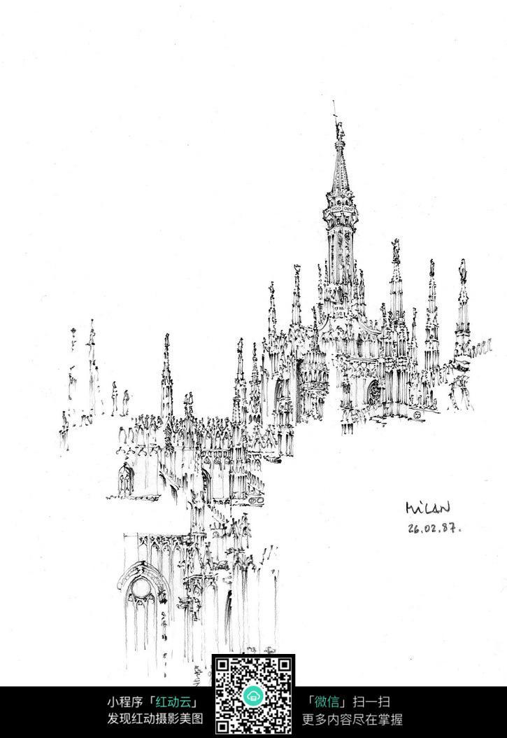 欧式尖顶建筑景观手绘线稿图_活动场景图片