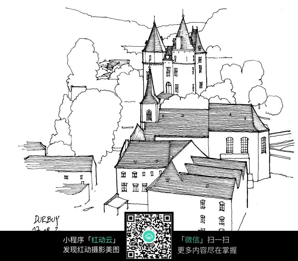 欧式尖顶建筑景观手绘线描画