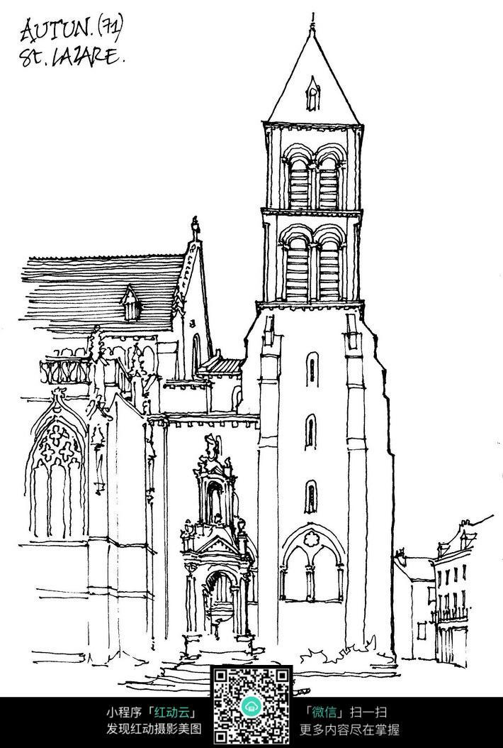 欧式尖顶建筑立面手绘线稿图