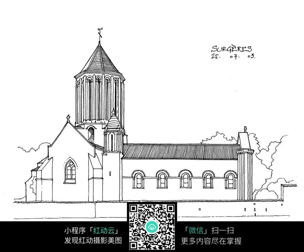 欧式尖顶建筑立面手绘线描画