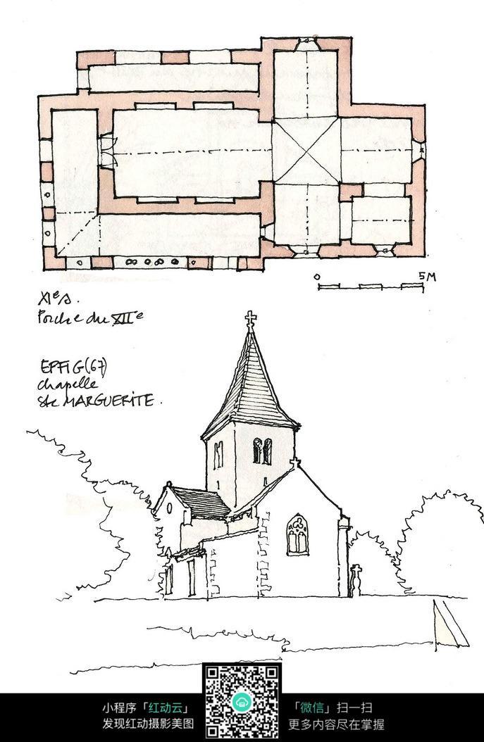 欧式尖顶建筑平面布置手绘线稿图