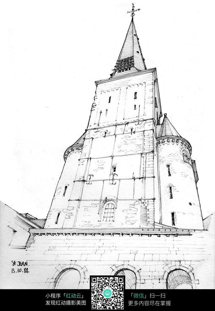 欧式尖顶建筑手绘素描画