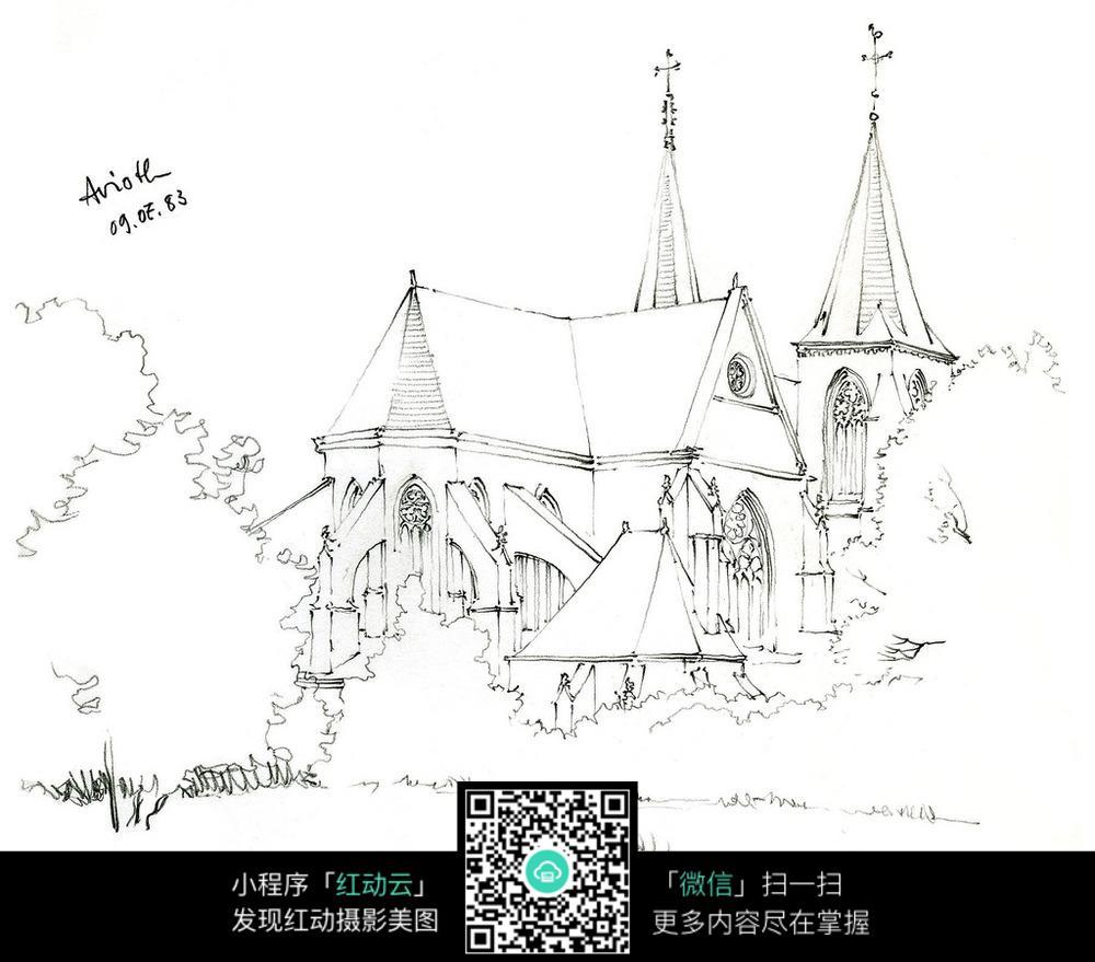 欧式尖顶建筑手绘线稿图_活动场景图片