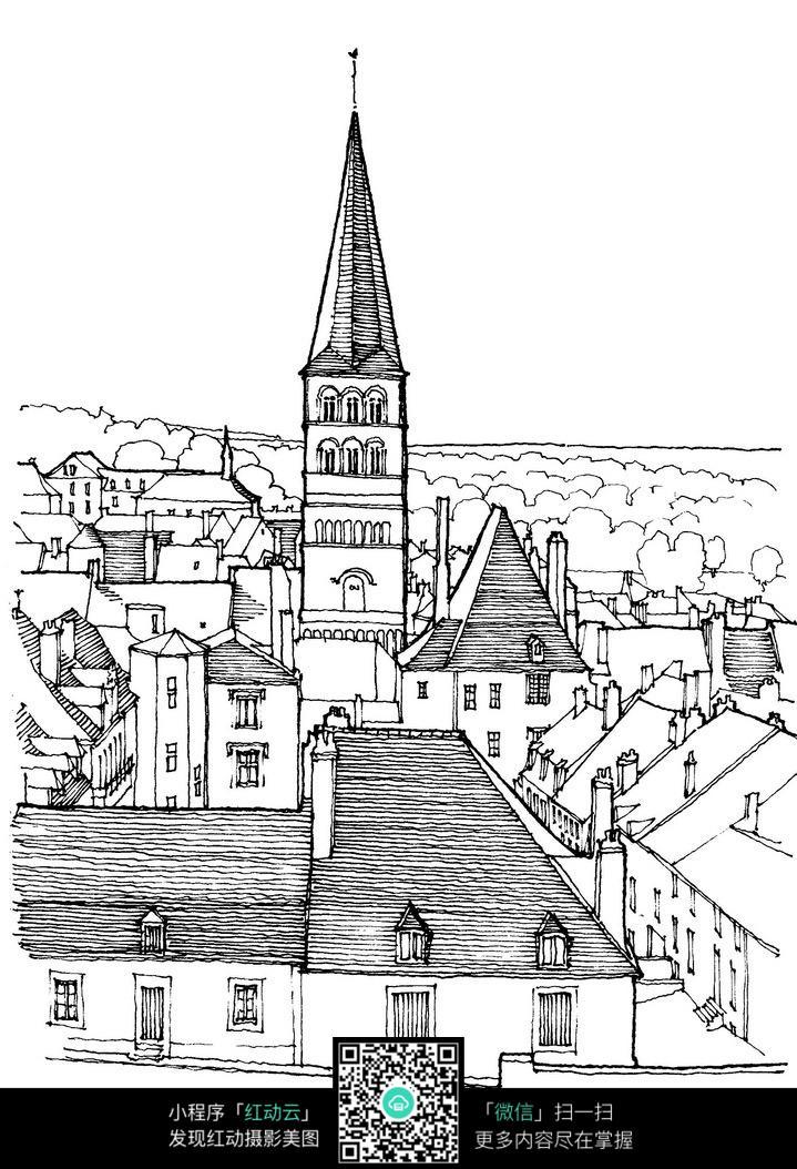 欧式尖顶建筑手绘线描画图片