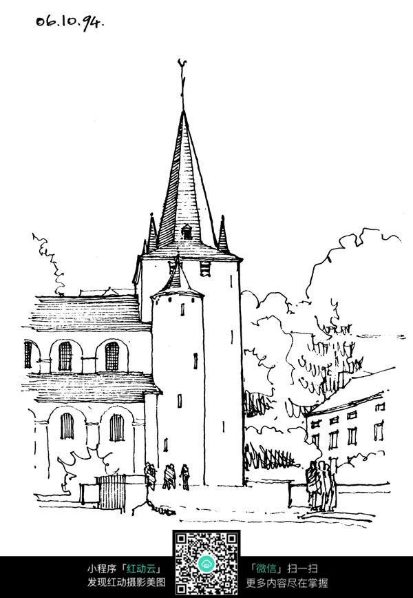 欧式尖顶建筑手绘线描画