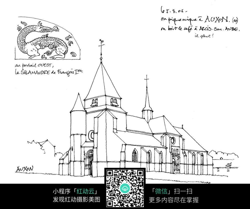 欧式尖顶建筑图案线描稿图片