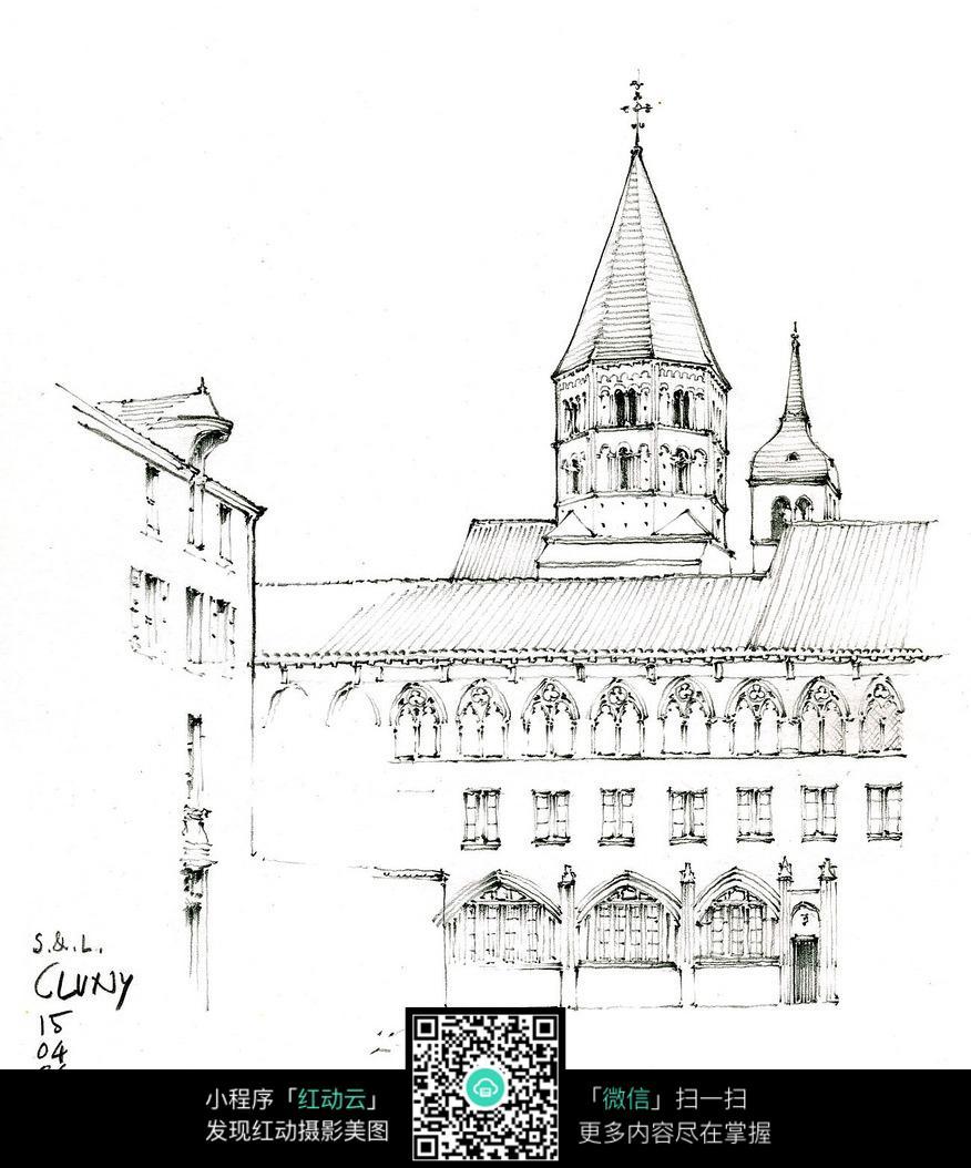 欧式尖顶建筑外立面手绘线描画
