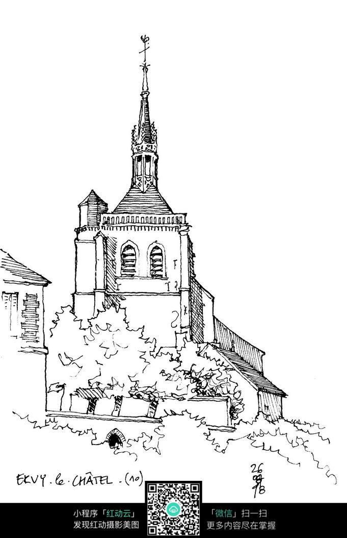 欧式尖顶塔楼建筑手绘线稿图