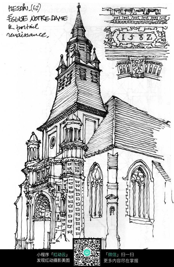 欧式尖顶塔楼建筑手绘线描画