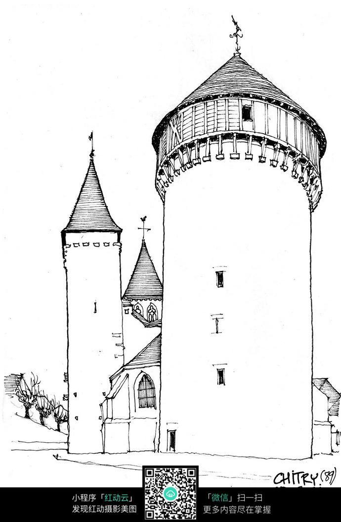 欧式尖顶塔楼手绘线描图_活动场景图片