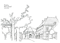 手绘街景线稿图片