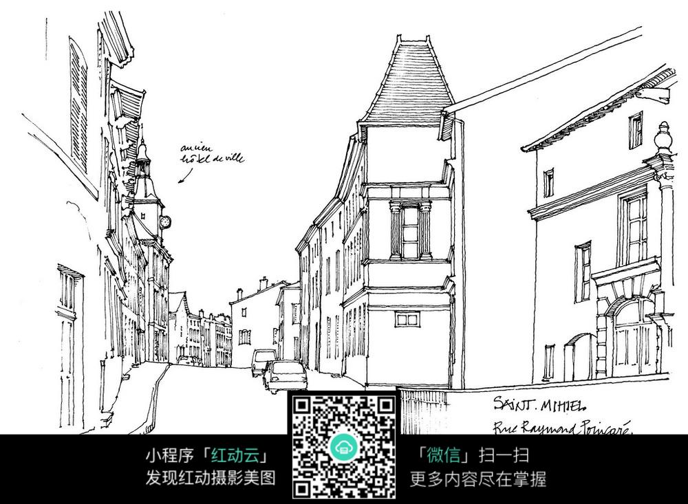 欧式建筑街道手绘线描画_活动场景图片_红动手机版