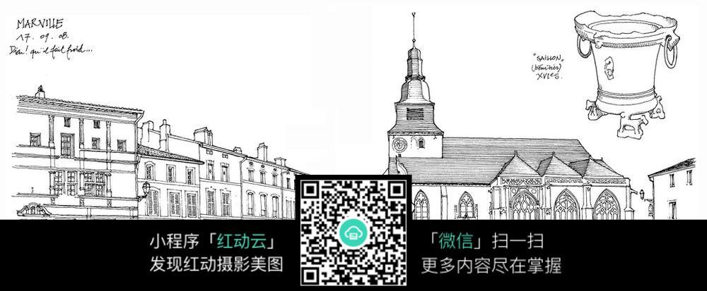 欧式建筑街道手绘线描画 活动场景图片 红动手机版图片