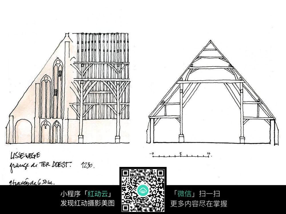 欧式建筑结构手绘线描画