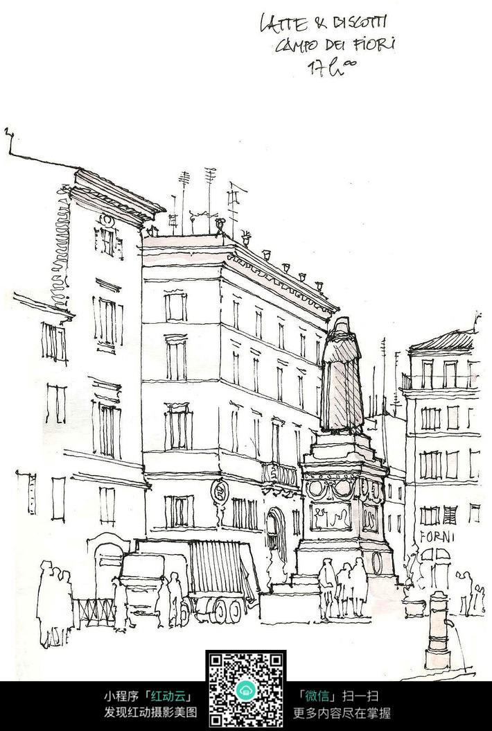 欧式建筑街景雕塑手绘线描图