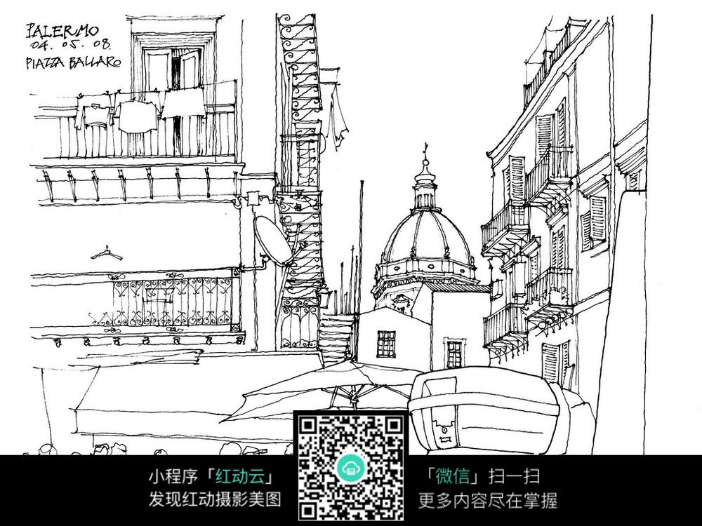 欧式建筑街景手绘线稿图