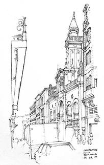 欧式建筑街景手绘图图片图片
