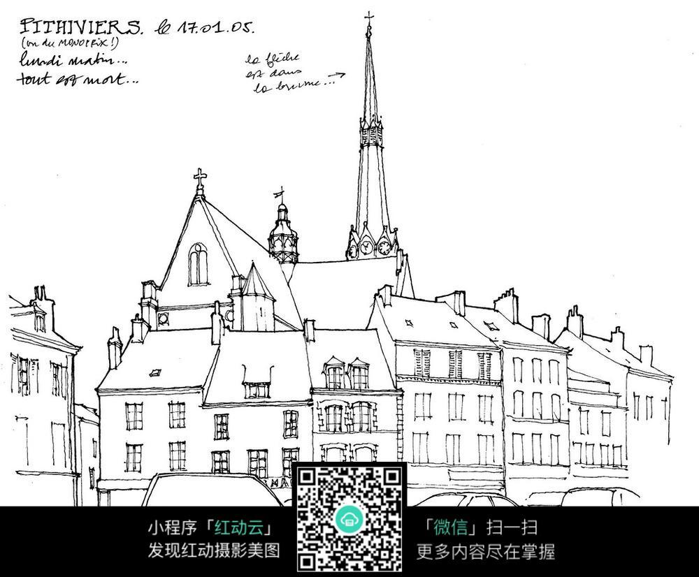 欧式建筑街景手绘线描画 活动场景图片 红动手机版图片