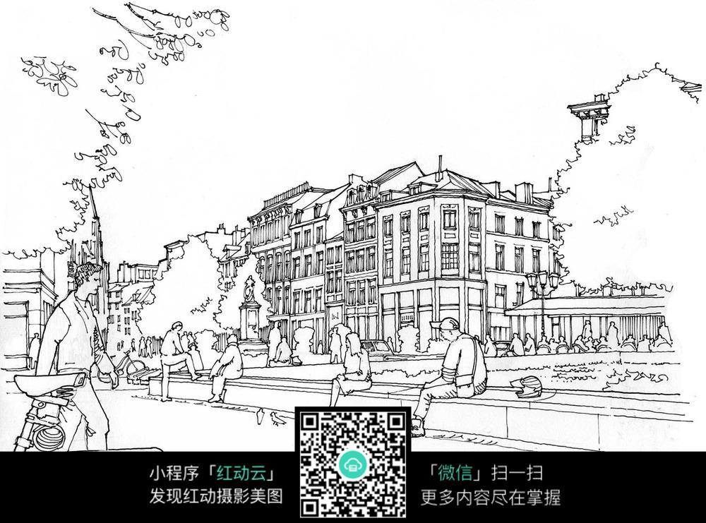 欧式建筑街景手绘线描画
