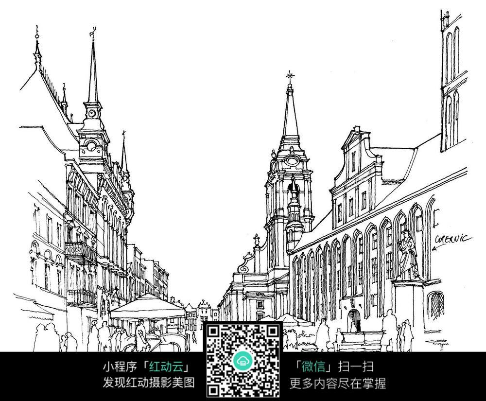 欧式建筑街景手绘线描图图片免费下载 编号3699710 红动网图片