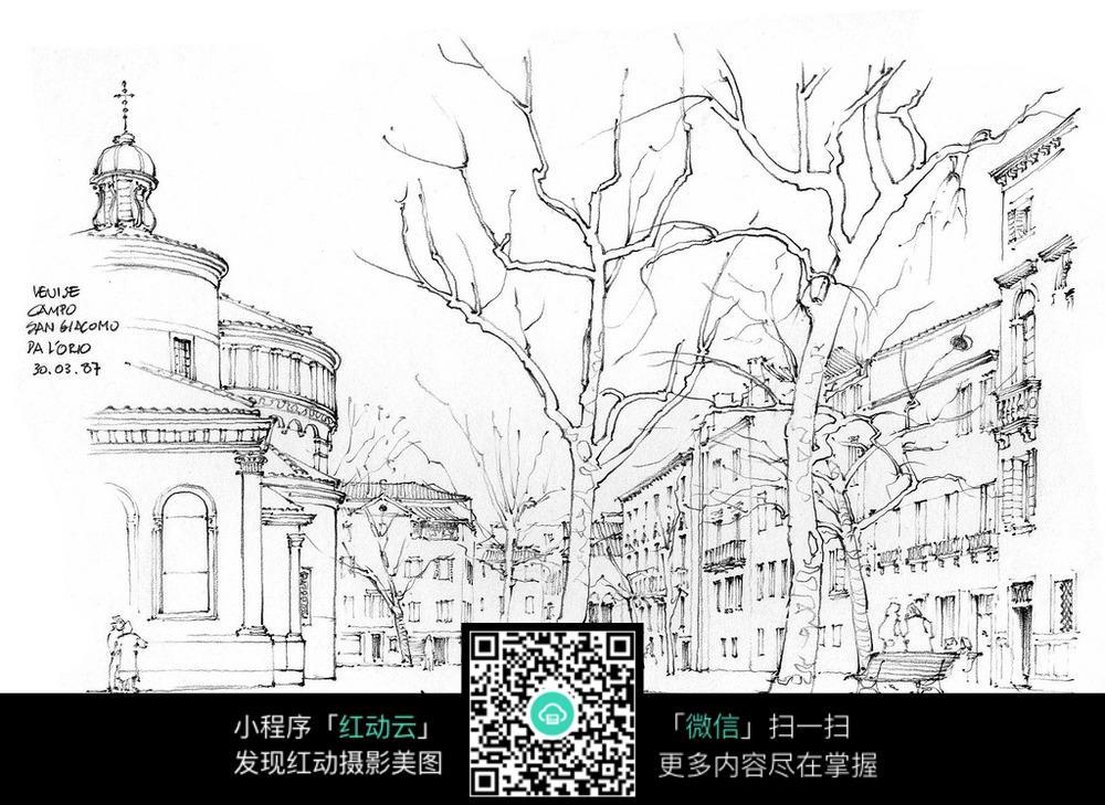 欧式建筑景观手绘线稿画