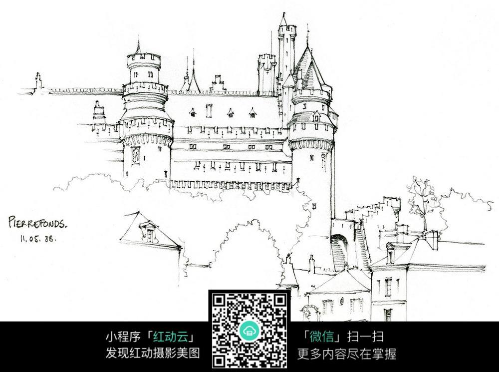 欧式建筑景观手绘线描画