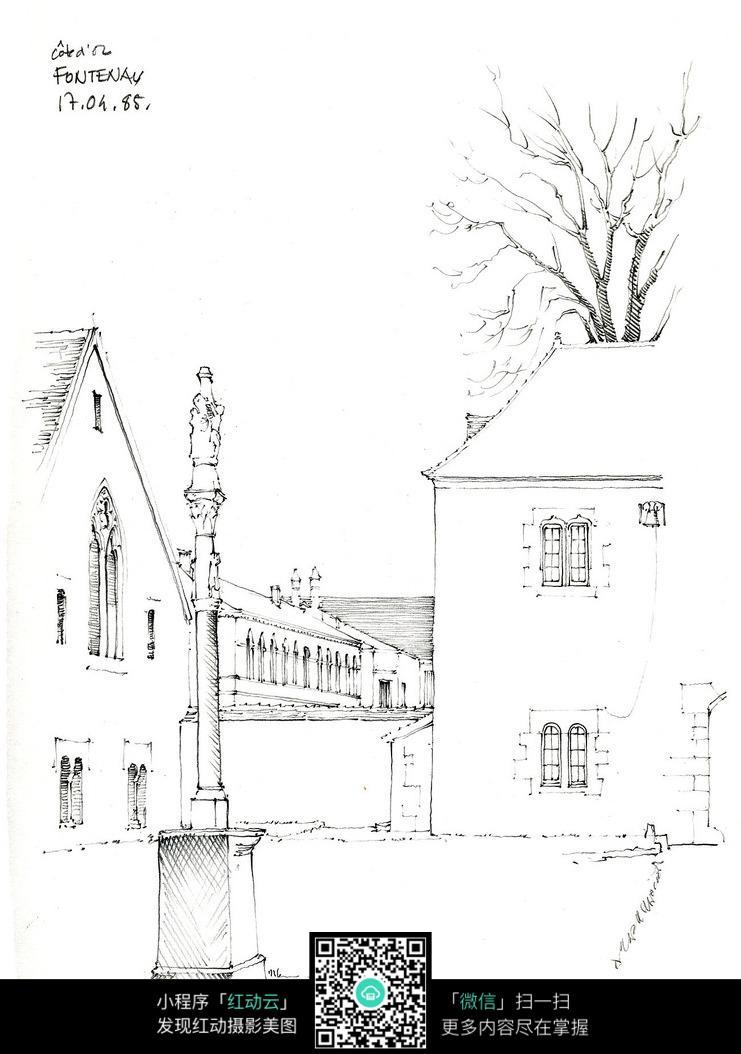 欧式建筑景观线稿图